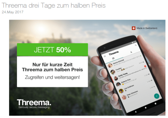 Screenshot Threema Website Angebot